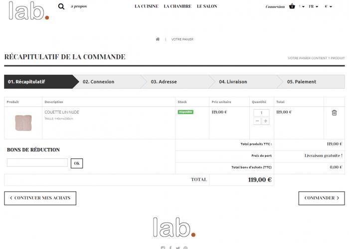 Page panier - ecommerce prestashop