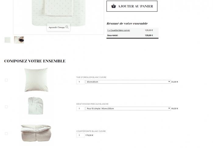 Page produit ecommerce prestashop