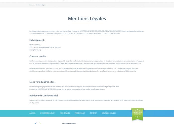 Création site vitrine LJ Nettoyage & Services
